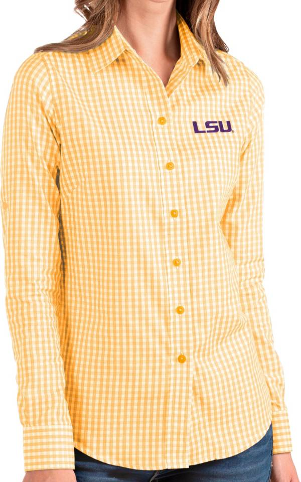 Antigua Women's LSU Tigers Gold Structure Button Down Long Sleeve Shirt product image