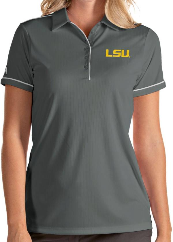 Antigua Women's LSU Tigers Grey Salute Performance Polo product image