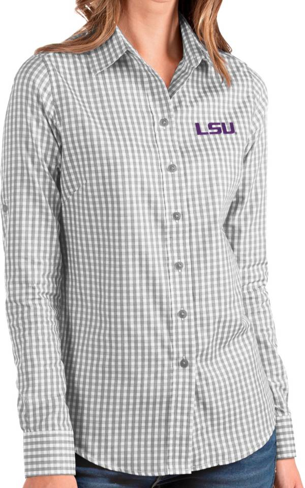 Antigua Women's LSU Tigers Grey Structure Button Down Long Sleeve Shirt product image