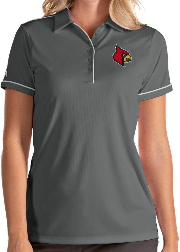 Antigua Women's Louisville Cardinals Grey Salute Performance Polo product image