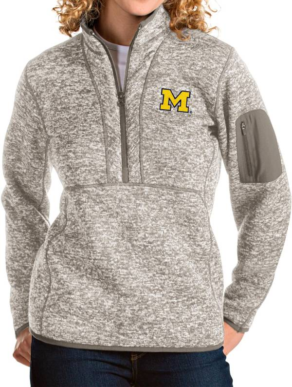 Antigua Women's Michigan Wolverines Oatmeal Fortune Pullover Jacket product image
