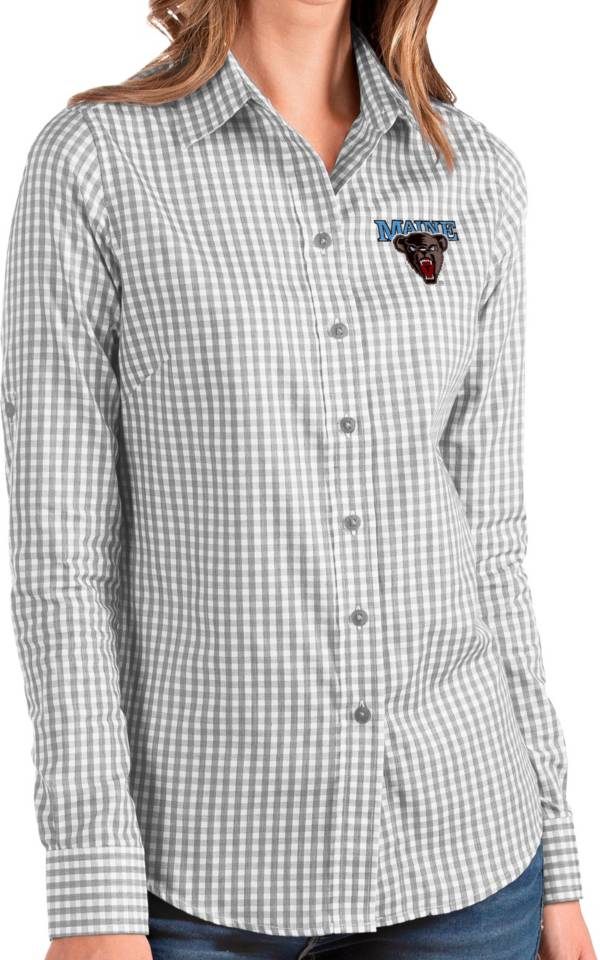 Antigua Women's Maine Black Bears Grey Structure Button Down Long Sleeve Shirt product image