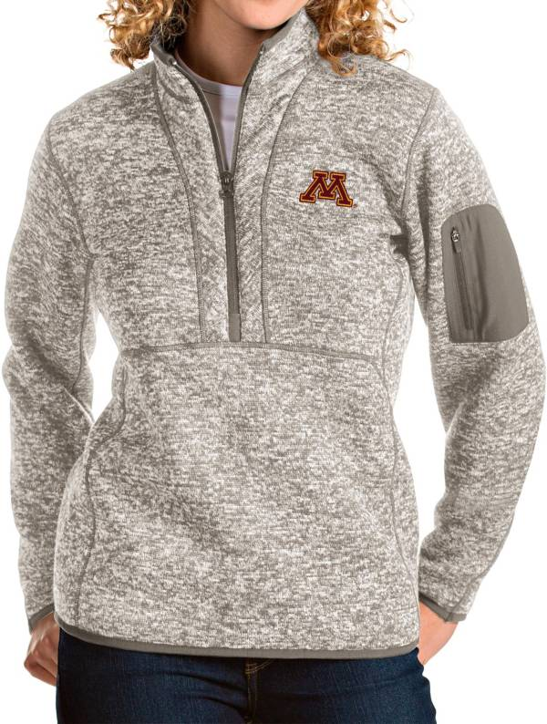 Antigua Women's Minnesota Golden Gophers Oatmeal Fortune Pullover Jacket product image