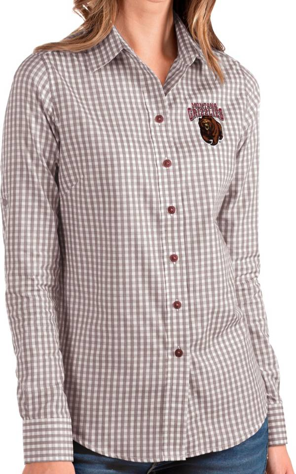 Antigua Women's Montana Grizzlies Maroon Structure Button Down Long Sleeve Shirt product image