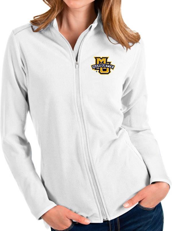 Antigua Women's Marquette Golden Eagles Glacier Full-Zip White Jacket product image