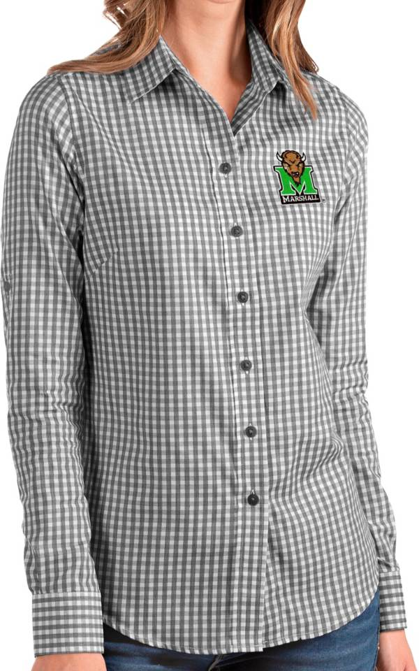 Antigua Women's Marshall Thundering Herd Structure Button Down Long Sleeve Black Shirt product image