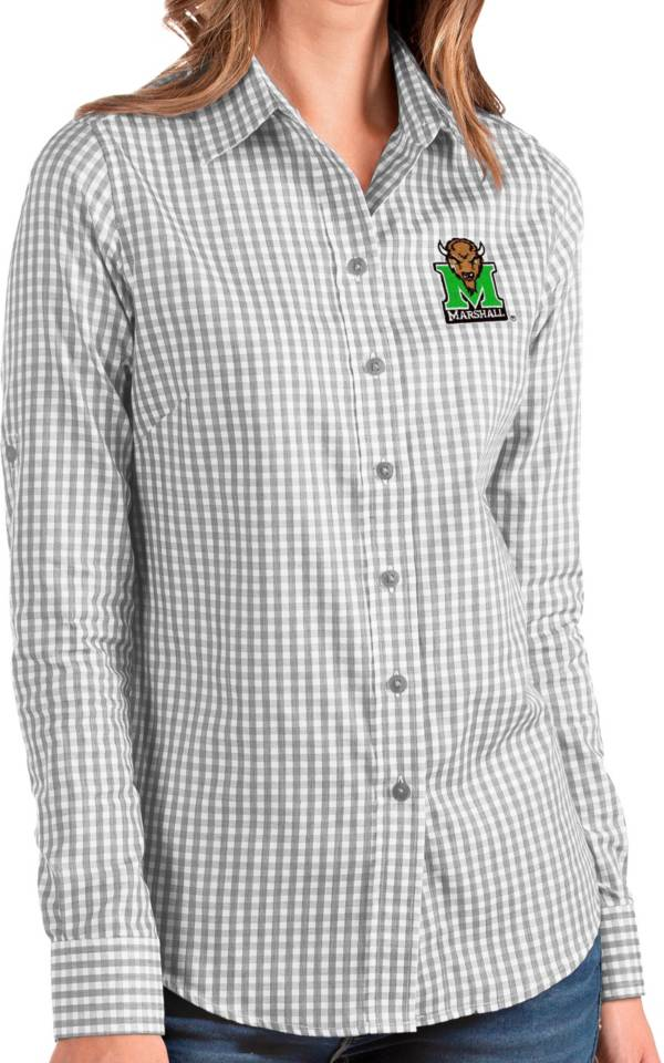 Antigua Women's Marshall Thundering Herd Grey Structure Button Down Long Sleeve Shirt product image