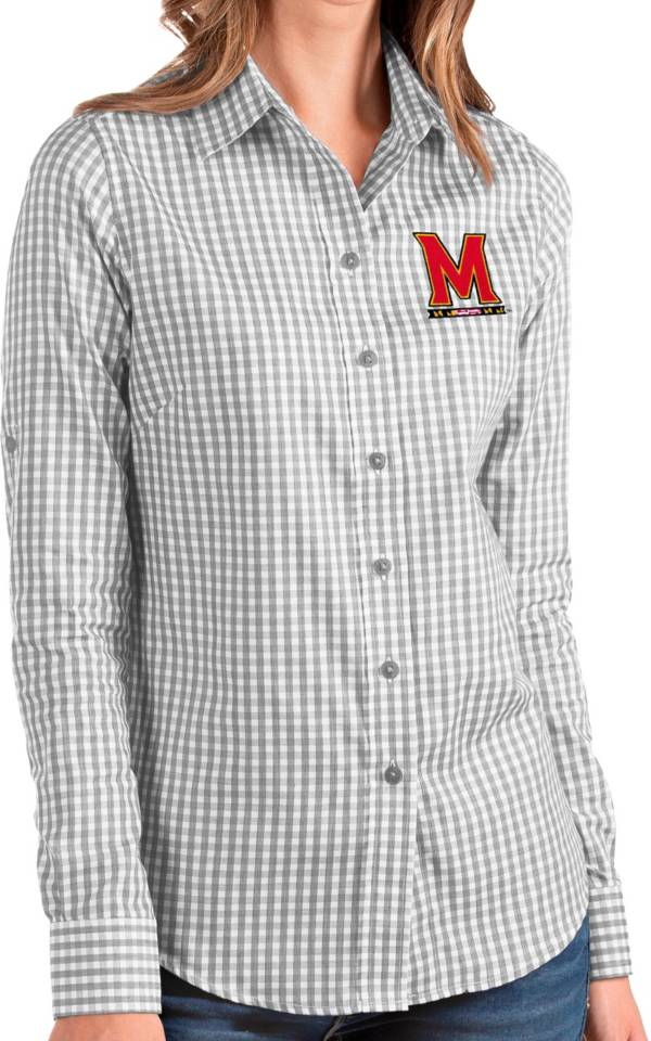 Antigua Women's Maryland Terrapins Grey Structure Button Down Long Sleeve Shirt product image