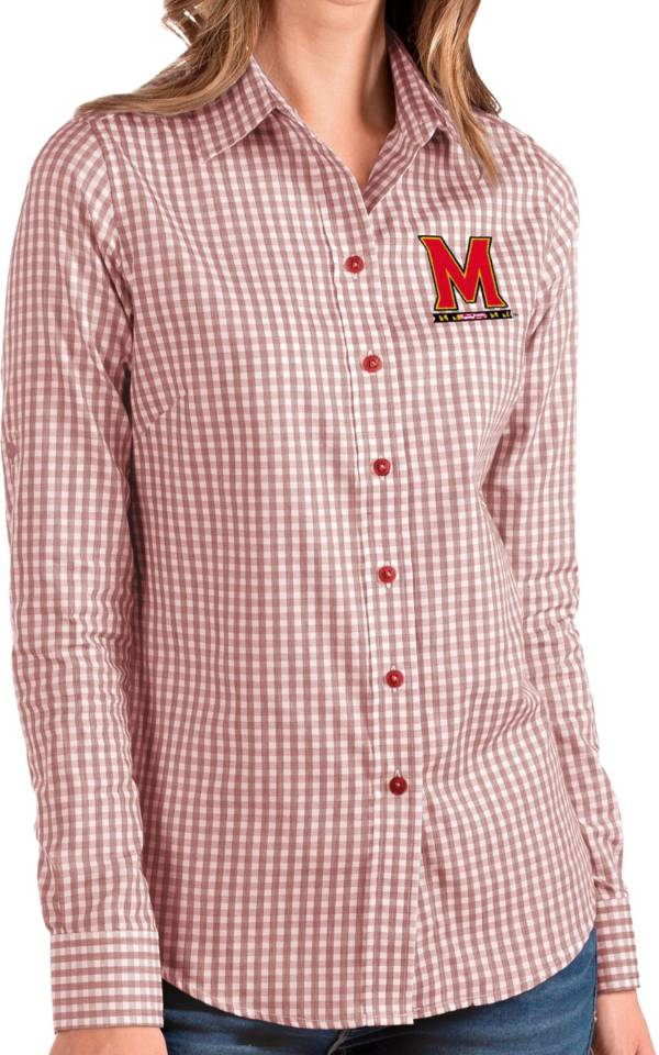 Antigua Women's Maryland Terrapins Red Structure Button Down Long Sleeve Shirt product image