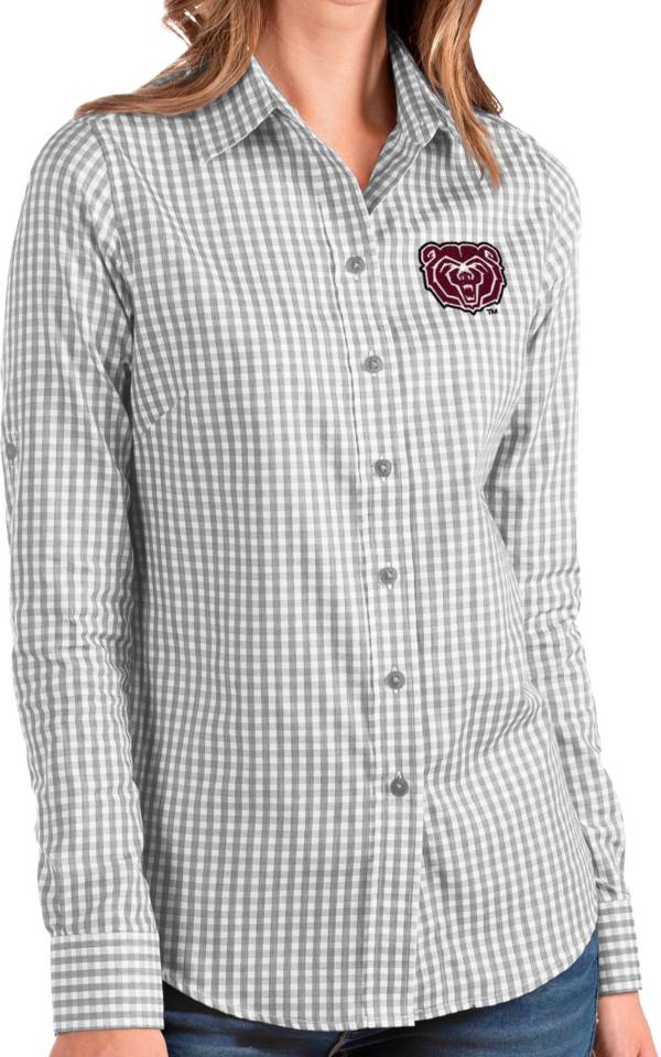 Antigua Women's Missouri State Bears Grey Structure Button Down Long Sleeve Shirt product image