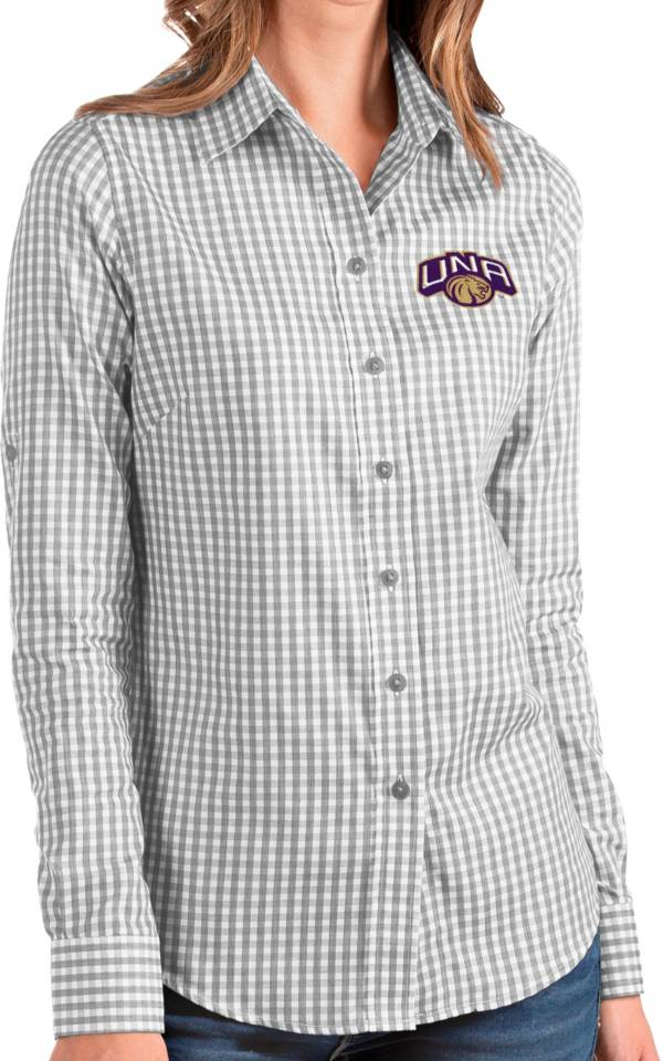Antigua Women's North Alabama  Lions Grey Structure Button Down Long Sleeve Shirt product image