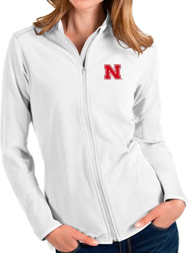 Antigua Women's Nebraska Cornhuskers Glacier Full-Zip White Jacket product image