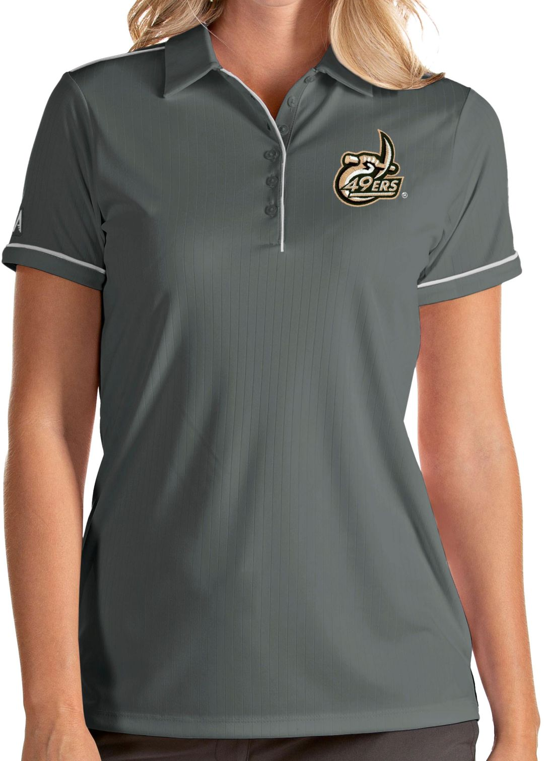 7fc06753 Antigua Women's Charlotte 49ers Grey Salute Performance Polo