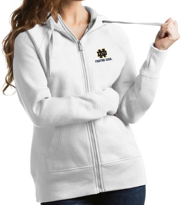 Antigua Women's Notre Dame Fighting Irish Victory Full-Zip White Hoodie product image