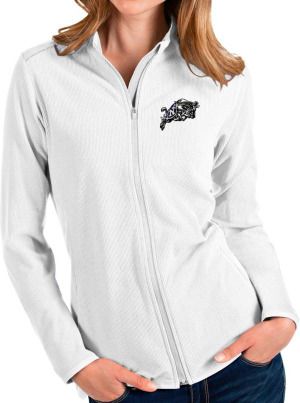 Antigua Women's Navy Midshipmen Glacier Full-Zip White Jacket product image