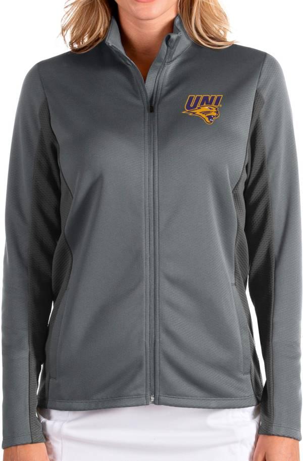 Antigua Women's Northern Iowa Panthers  Grey Passage Full-Zip Jacket product image