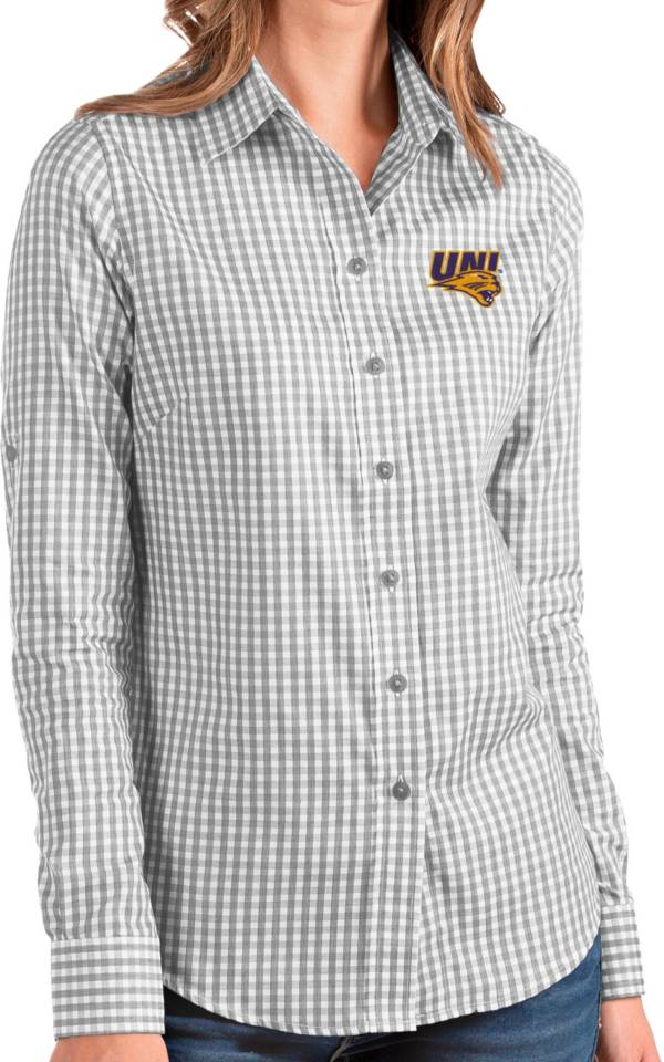 Antigua Women's Northern Iowa Panthers  Grey Structure Button Down Long Sleeve Shirt product image