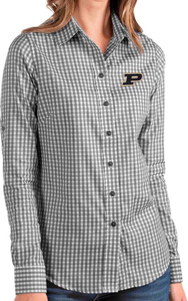Antigua Women's Purdue Boilermakers Structure Button Down Long Sleeve Black Shirt product image