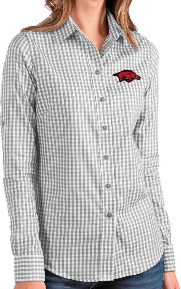 Antigua Women's Arkansas Razorbacks Grey Structure Button Down Long Sleeve Shirt product image