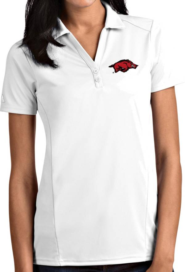 Antigua Women's Arkansas Razorbacks Tribute Performance White Polo product image