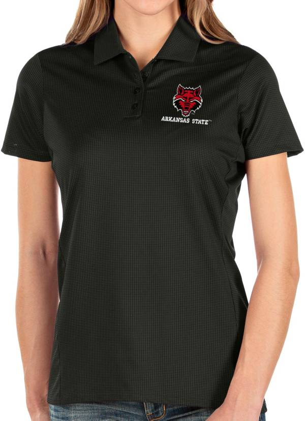 Antigua Women's Arkansas State Red Wolves Balance Black Polo product image