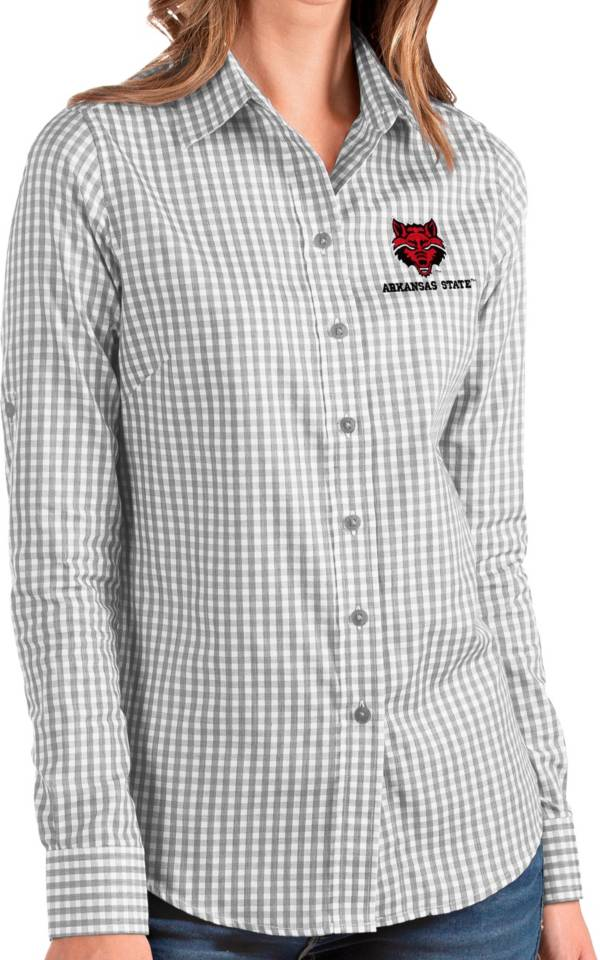 Antigua Women's Arkansas State Red Wolves Grey Structure Button Down Long Sleeve Shirt product image