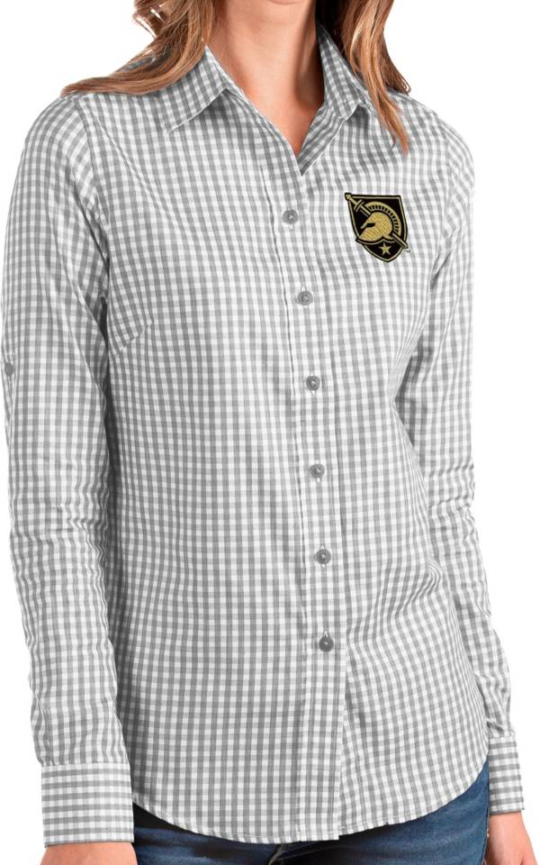 Antigua Women's Army West Point Black Knights Grey Structure Button Down Long Sleeve Shirt product image