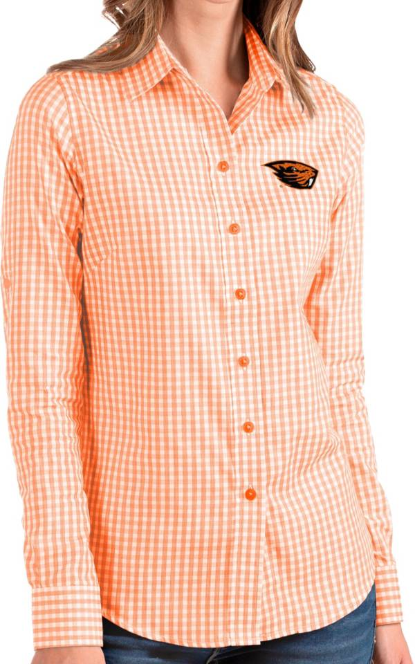 Antigua Women's Oregon State Beavers Orange Structure Button Down Long Sleeve Shirt product image