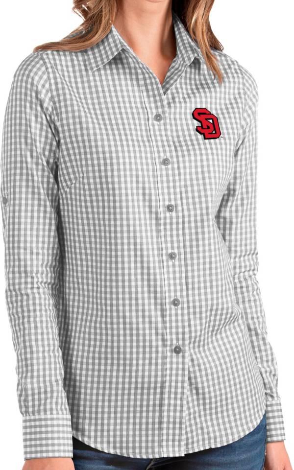 Antigua Women's South Dakota Coyotes Grey Structure Button Down Long Sleeve Shirt product image