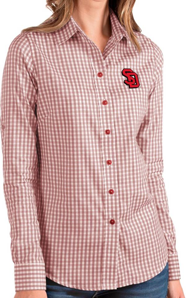 Antigua Women's South Dakota Coyotes Red Structure Button Down Long Sleeve Shirt product image