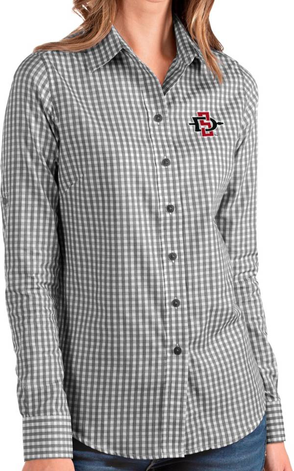 Antigua Women's San Diego State Aztecs Structure Button Down Long Sleeve Black Shirt product image