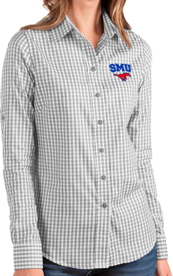 Antigua Women's Southern Methodist Mustangs Grey Structure Button Down Long Sleeve Shirt product image