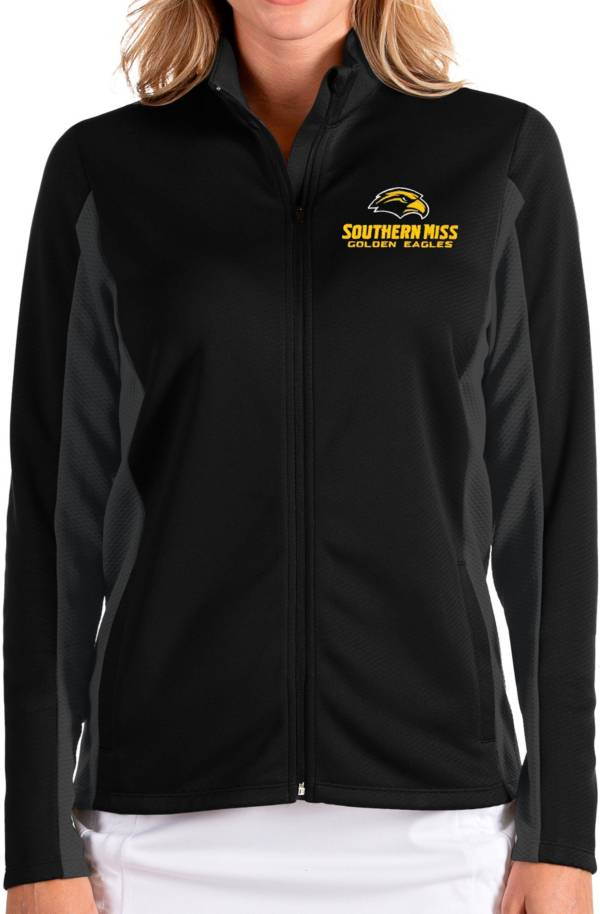 Antigua Women's Southern Miss Golden Eagles Passage Full-Zip Black Jacket product image