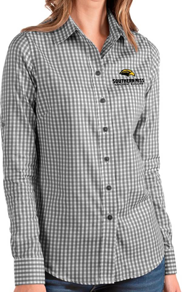 Antigua Women's Southern Miss Golden Eagles Structure Button Down Long Sleeve Black Shirt product image