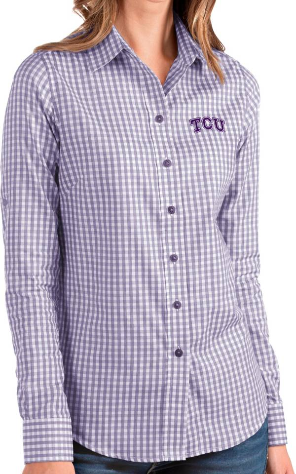 Antigua Women's TCU Horned Frogs Purple Structure Button Down Long Sleeve Shirt product image