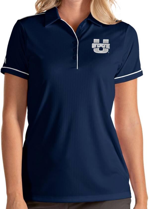 Antigua Women's Utah State Aggies Blue Salute Performance Polo product image