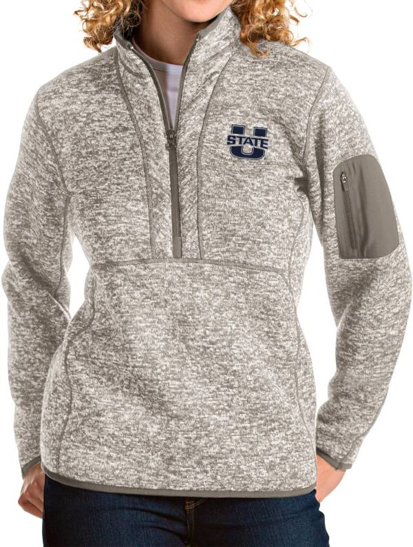 Antigua Women's Utah State Aggies Oatmeal Fortune Pullover Jacket product image