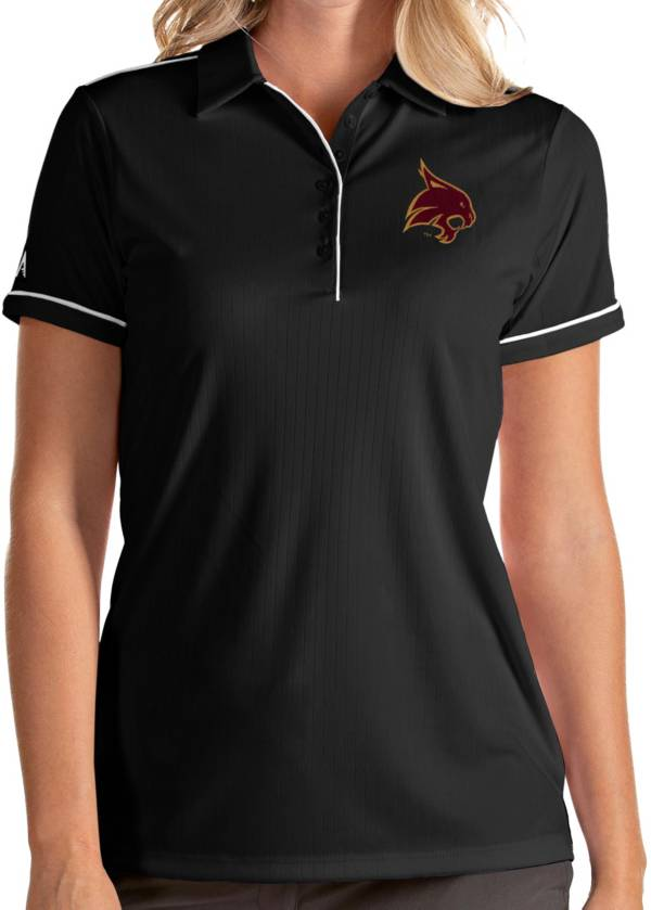 Antigua Women's Texas State Bobcats Salute Performance Black Polo product image