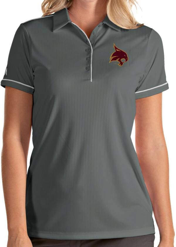 Antigua Women's Texas State Bobcats Grey Salute Performance Polo product image