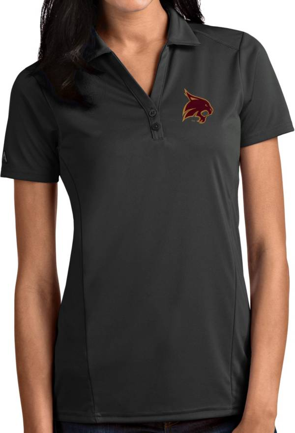 Antigua Women's Texas State Bobcats Grey Tribute Performance Polo product image
