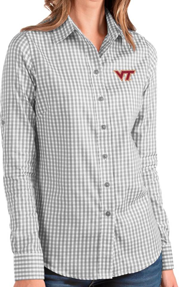 Antigua Women's Virginia Tech Hokies Grey Structure Button Down Long Sleeve Shirt product image