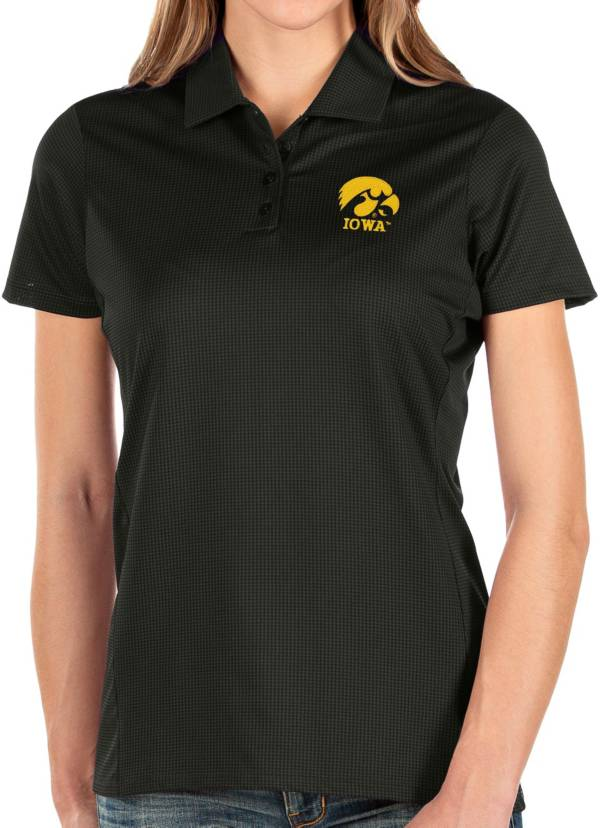Antigua Women's Iowa Hawkeyes Balance Black Polo product image