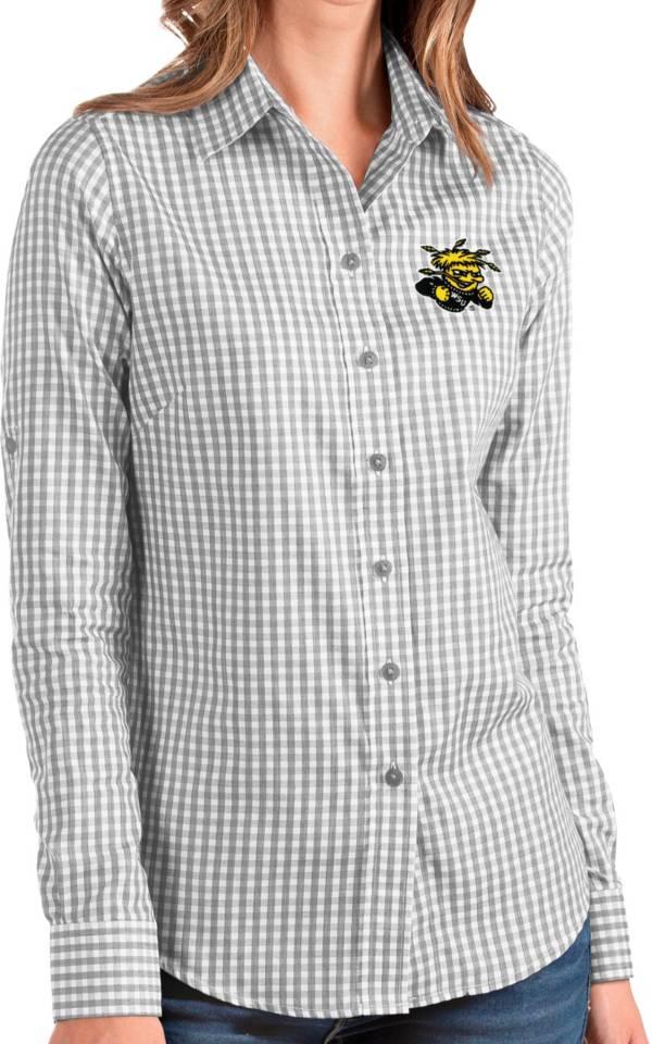 Antigua Women's Wichita State Shockers Grey Structure Button Down Long Sleeve Shirt product image