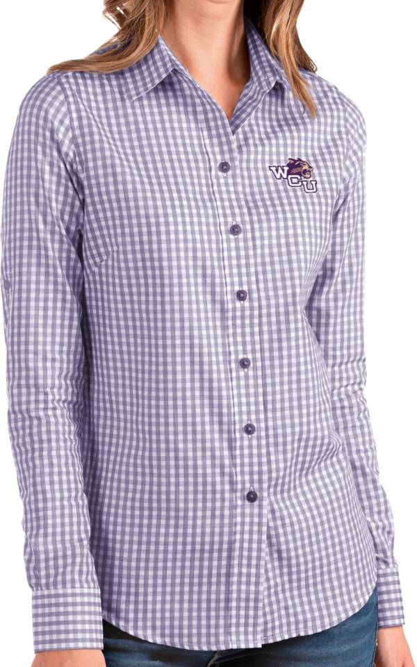 Antigua Women's Western Carolina Catamounts Purple Structure Button Down Long Sleeve Shirt product image