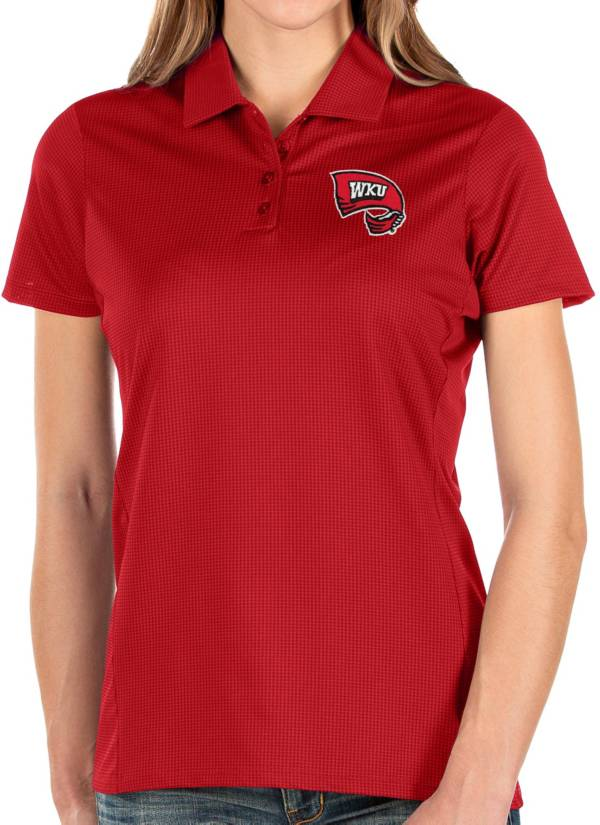 Antigua Women's Western Kentucky Hilltoppers Red Balance Polo product image