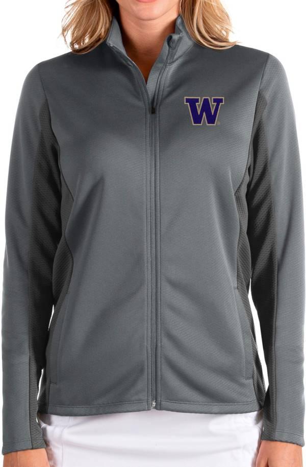 Antigua Women's Washington Huskies Grey Passage Full-Zip Jacket product image