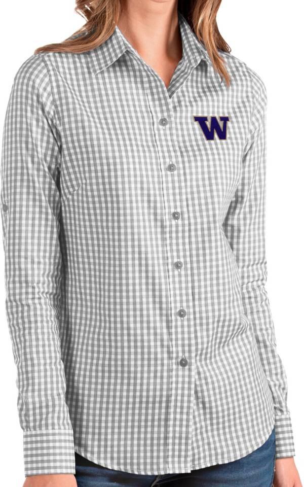 Antigua Women's Washington Huskies Grey Structure Button Down Long Sleeve Shirt product image