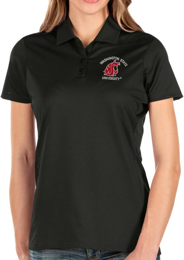 Antigua Women's Washington State Cougars Balance Black Polo product image