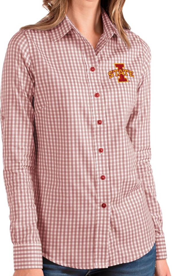 Antigua Women's Iowa State Cyclones Cardinal Structure Button Down Long Sleeve Shirt product image