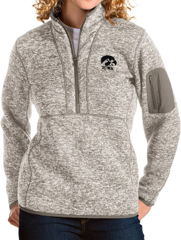 Antigua Women's Iowa Hawkeyes Oatmeal Fortune Pullover Jacket product image